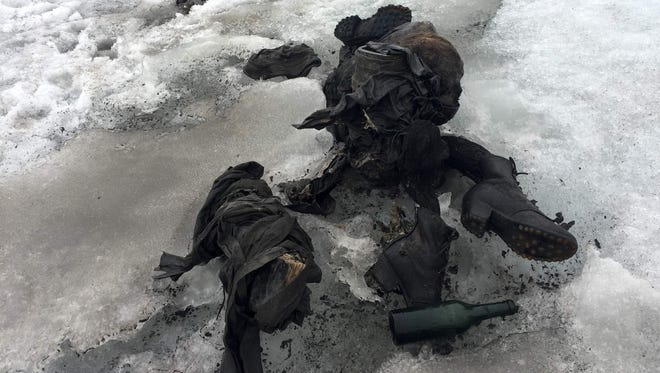 A photo by Swiss cable car company Glacier 3000 shows the mummified remains of a Swiss couple who went missing 75 years ago and who were found in a glacier in the Diablerets mountains in southern Switzerland.
