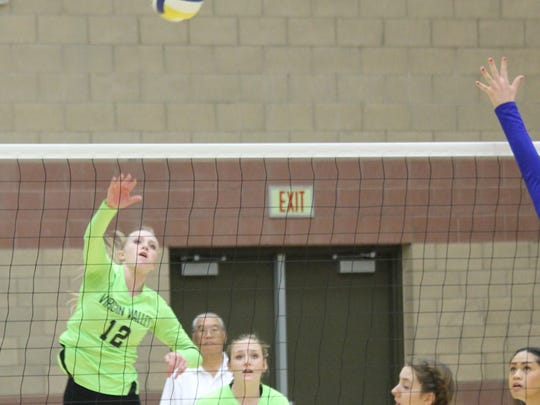 Virgin Valley's Emma Barnum, shown against Moapa Valley was named first team All-Sunrise Conference this season.
