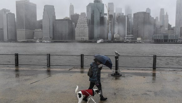 A woman walks her dog past a foggy view of the Manhattan