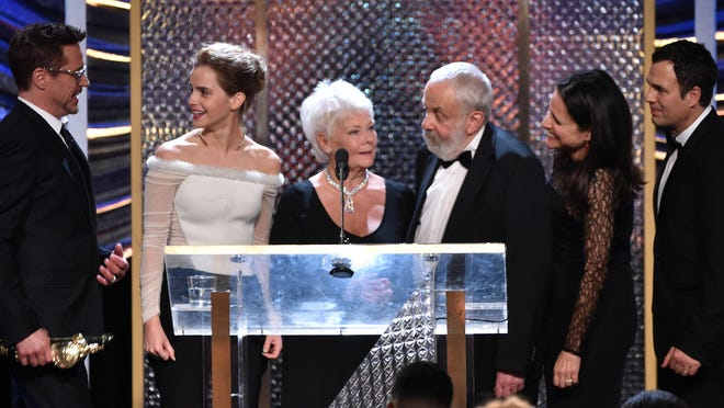 BEVERLY HILLS, CA - OCTOBER 30:  (L-R) BAFTA Los Angeles Jaguar Britannia Awards recipients Robert Downey Jr., Emma Watson, Dame Judi Dench, Mike Leigh, Julia Louis-Dreyfus and Mark Ruffalo onstage during the BAFTA Los Angeles Jaguar Britannia Awards presented by BBC America and United Airlines at The Beverly Hilton Hotel on October 30, 2014 in Beverly Hills, California.  (Photo by Kevin Winter/Getty Images)