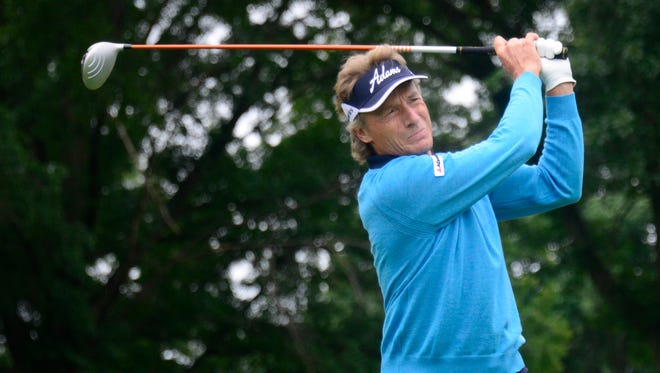 Bernhard Langer tees off on the second hole during the Dick'??s Sporting Goods Open on Friday at En-Joie Golf Course in Endicott.
