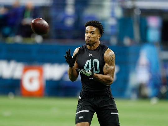 Mar 1, 2020; Indianapolis, Indiana, USA; Southern Illinois defensive back Jeremy Chinn (DB40) goes through pass catching workout drills during the 2020 NFL Combine at Lucas Oil Stadium. Mandatory Credit: Brian Spurlock-USA TODAY Sports