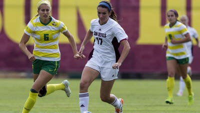 Cali Farquharson (17) will finish her ASU soccer career second in goals and points behind Stacey Tullock.