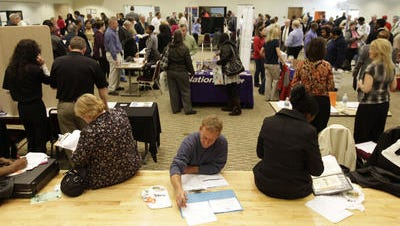 Jobs fairs are crowded with the unemployed, many of whom will be losing help when extended unemployment benefits expire.