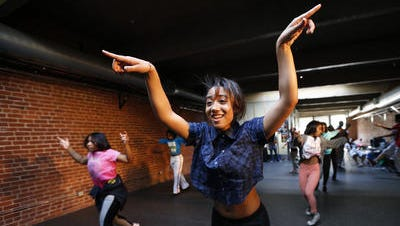 Angel Collins, 16, of Mount Airy performs with her dance troupe at the Studio Kre8v of Elementz in Over-the-Rhine
