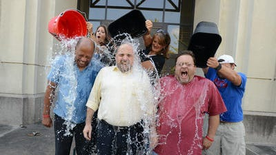 Jimmy Gates, Sam Hall & Geoff Pender take the first buckets during The Clarion-Ledger #IceBucketChallenge