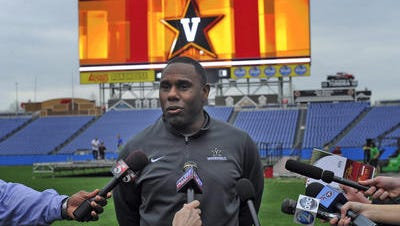 Vanderbilt head football coach Derek Mason talks about being able to play a home game against Ole Miss at LP Field Thursday April 3, 2014, in Nashville, Tenn.