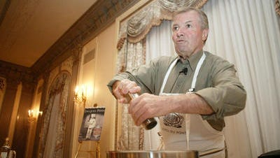 Legendary cooking teacher Jacques Pepin prepares a meal at Wilmington's Hotel du Pont. He is filming his final TV series this October. It will air in 2015.