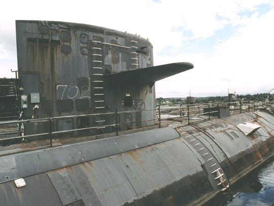 The USS Phoenix submarine sits in storage at a Navy