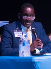 Lawrence Powell speaks in July 2018 at the mayor candidate forum hosted by the Pensacola News Journal.