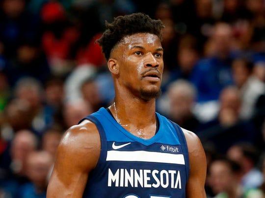 Minnesota Timberwolves' Jimmy Butler plays against