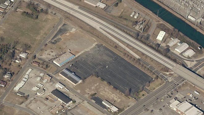"""An aerial image shows MCG Foundation-owned property at the corner of 15th Street and the John C. Calhoun Expressway in downtown Augusta. Downtown development officials are exploring options to help the foundation redevelop the property into a mixed-use """"gateway"""" project using tax-exempt bond financing."""