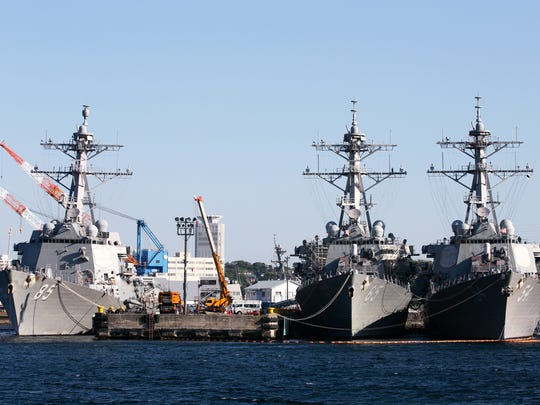 The USS McCampbell, USS Benfold and USS Curtis Wilbur are Arleigh Burke-class destroyers, part of the U.S. 7th Fleet based at Commander Fleet Activities Yokosuka in Yokosuka, Japan.