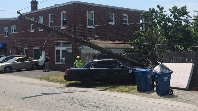A vehicle reportedly crashed about 11:45 a.m. into a utility pole on Watson Avenue near Ogle Avenue, near Wilmington.