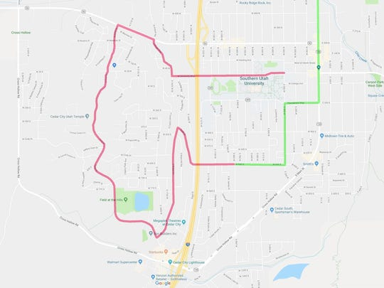 The starting route for Stage 1 of the 2018 Tour of Utah in Cedar City.