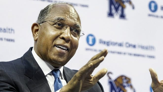 April 14, 2016: University of Memphis head basketball coach Tubby Smith speaks during his introductory news conference at the FedExForum. Smith replaced Josh Pastner, who left to coach Georgia Tech.