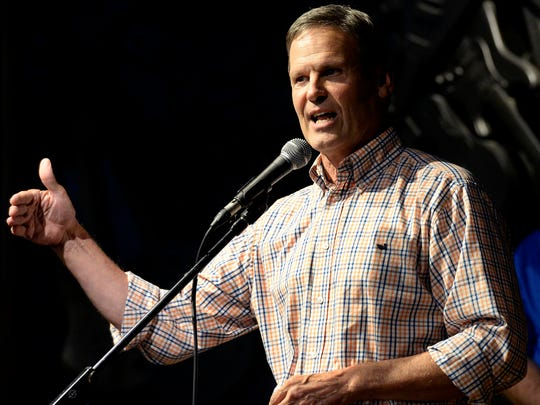 Republican gubernatorial nominee Bill Lee speaks to supporters during a Republican Unity Rally at the Musicians Hall of Fame in Municipal Auditorium on Aug. 4, 2018.