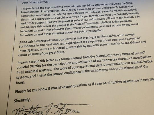 A letter from District Attorney General Matt Stowe after his disagreement with the TBI and others involved in the Holly Bobo case.