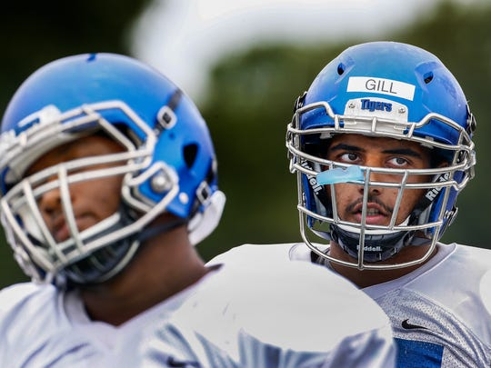 August 19, 2016 - University of Memphis offensive lineman Harneet Gill during practice. (Mark Weber/The Commercial Appeal)