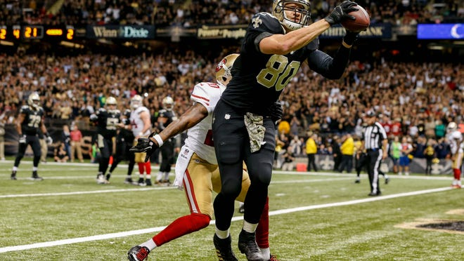 Saints tight end Jimmy Graham has caught 22 passes for 218 yards and four touchdowns in his last three games. For the season, he leads all tight ends with 56 receptions.