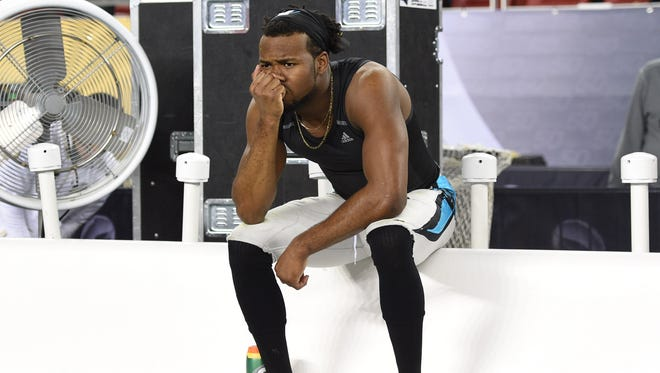 Carolina Panthers cornerback Josh Norman (24) reacts on the bench after the game against the Denver Broncos in Super Bowl 50 at Levi's Stadium.