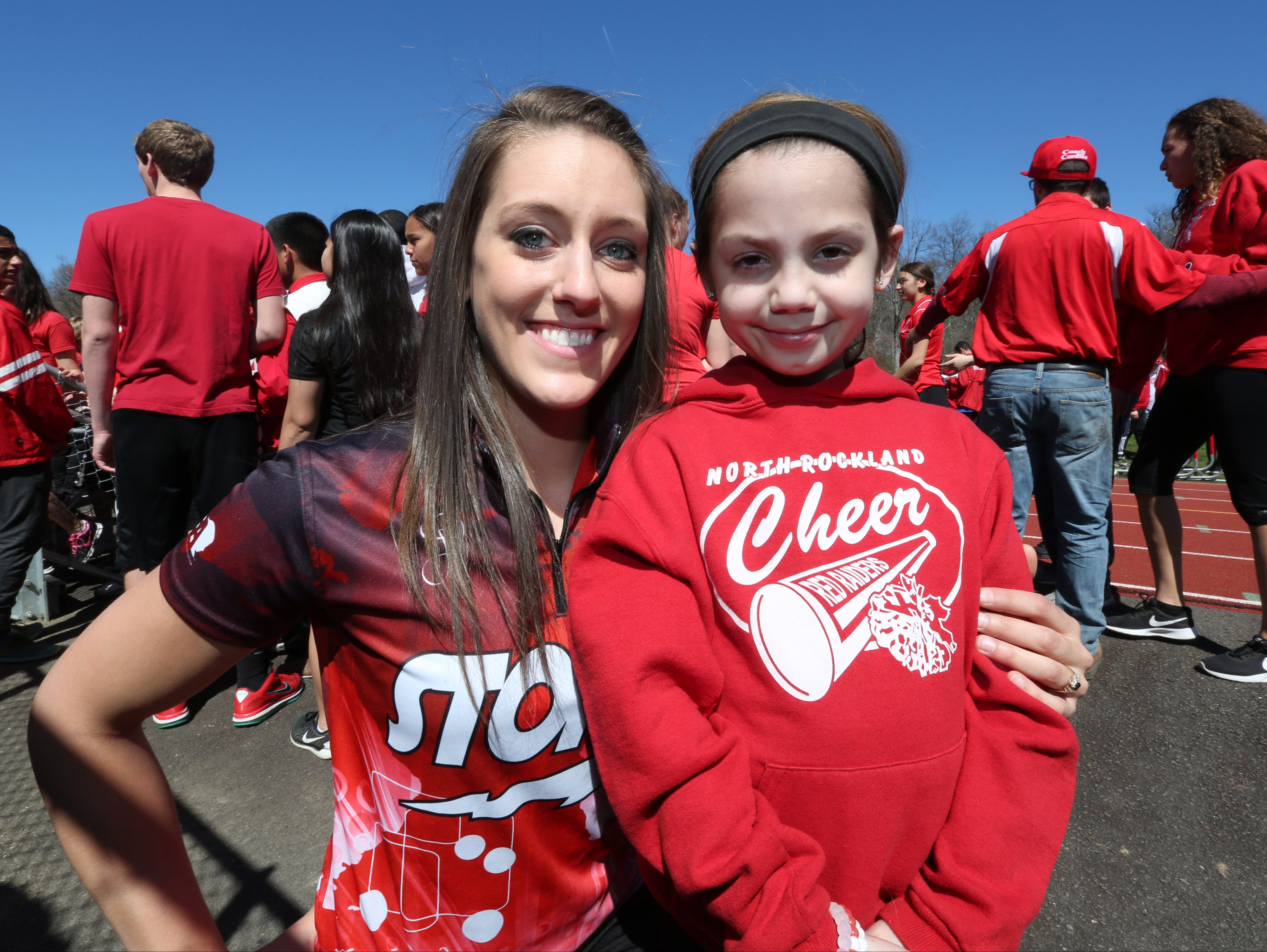 """Professional bowler Danielle McEwan meets with Stony Point Elementary third-grader Gabby DiCarlo at North Rockland High School April 20, 2016. They got together to spread the word about the second annual """"Sports Day"""" at the high school on April 30. So far the program has raised $14,000 for cancer and cystic fibrosis."""