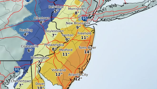 There's a 1 in 10 chance that more than a foot of snow could fall on parts of the Jersey Shore.