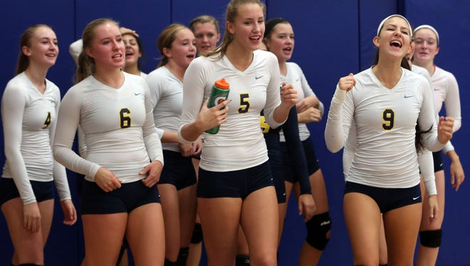 Lauren Feeley (6) and Panas prepare for a match at Hendrick Hudson High School in Montrose on Oct. 8, 2015.