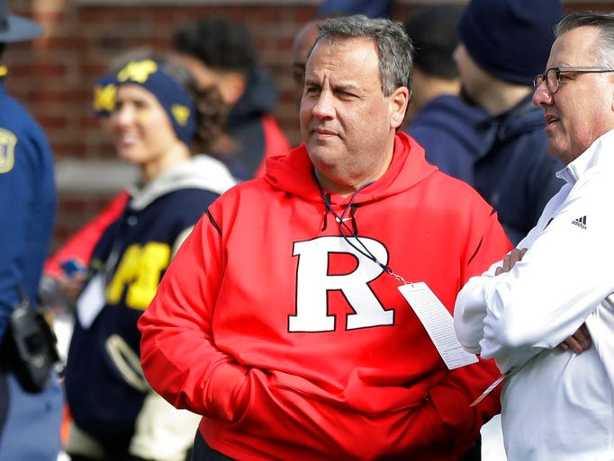 New Jersey Gov. Chris Christie watches from the sidelines