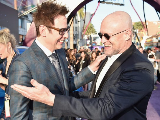 Director James Gunn, left, and Michael Rooker at the