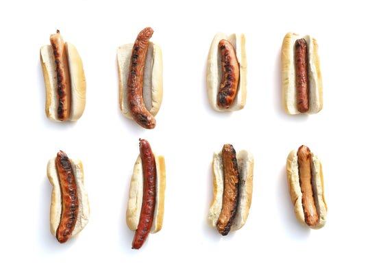 Our judges tasted eight hot dogs. First row: Sahlen's, Costanza, Zweigle's, Hebrew National. Second row: Wegmans, McCann's Local Meats, Swan Market, Hofmann.