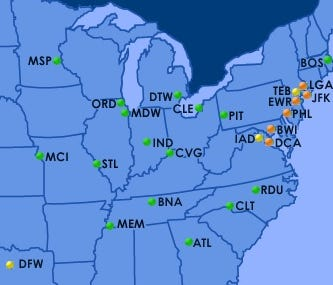 The Federal Aviation Administration's flight-delay map showed a new round of delays on the morning of Tuesday, July 24, 2018.