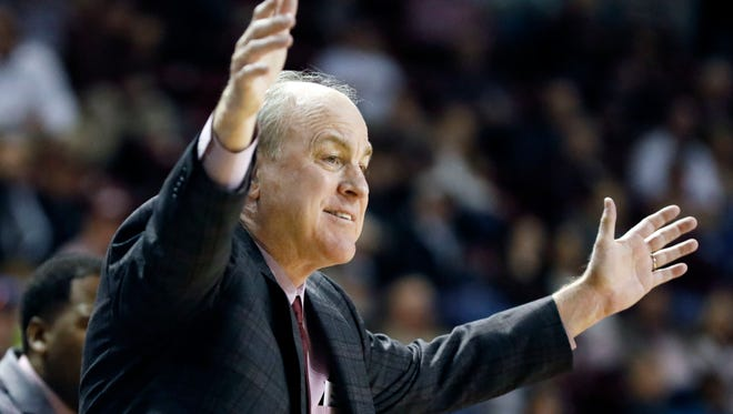 Mississippi State head coach Ben Howland reacts to his team's play against Florida in the first half of an NCAA college basketball game in Starkville, Miss., Saturday, Feb. 18, 2017. (AP Photo/Rogelio V. Solis)