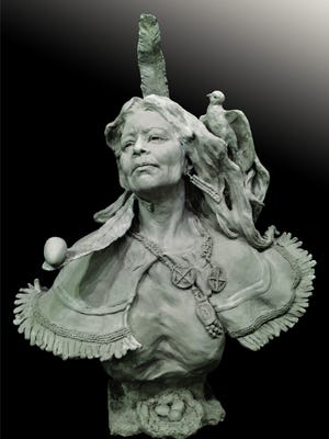 """""""Woman Of Prophecy,"""" sculpture by Bren Sibilsky of Algoma, a Special Honor Award winner in the """"New Beginnings"""" online exhibit for Manhattan Arts International."""