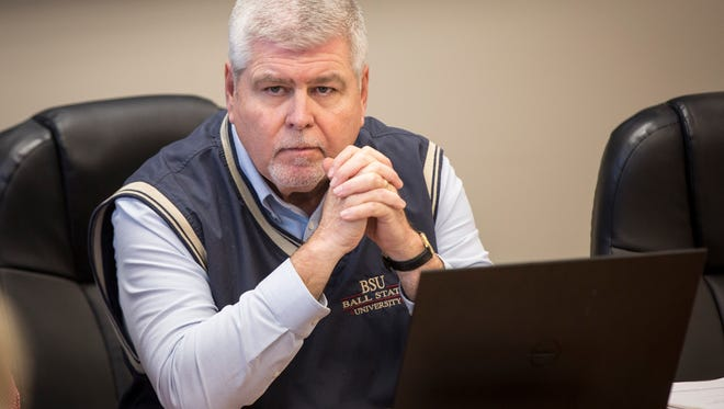 Tom Simpson, board member of the Yorktown Community School Board, meets with department heads about forming a search committee to find a replacement for Superintendent Jennifer McCormick.