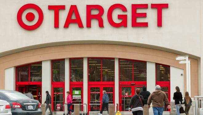 Shoppers arrive at a Target in Los Angeles.
