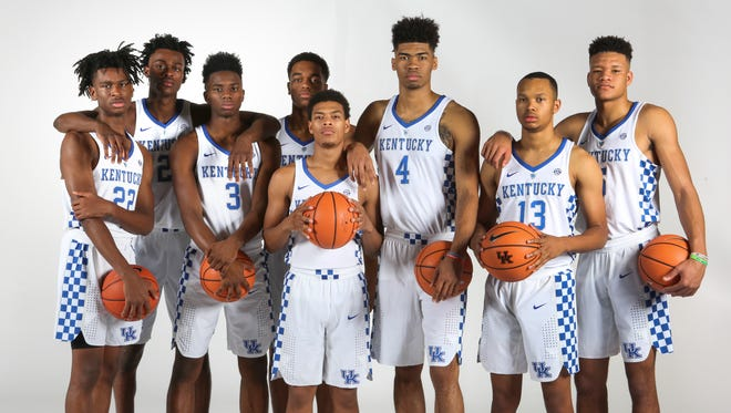Kentucky freshmen Shai Gilgeous-Alexander, Jarred Vanderbilt, Hamidou Diallo, P.J. Washington, Quade Green, Nick Richards, Jemarl Baker, and Kevin Knox.
