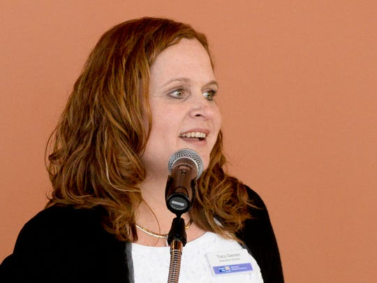 Tracy Geenen, the United Way executive director, gives
