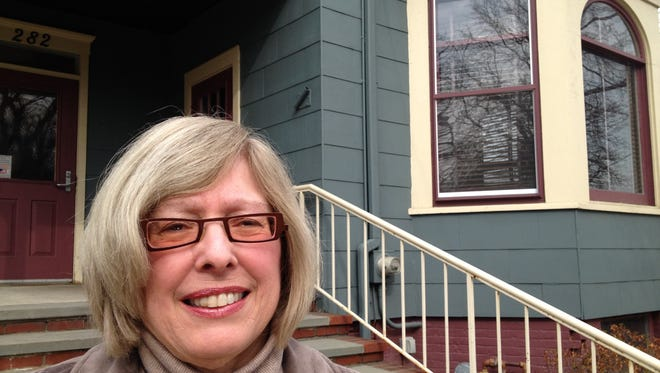 South Nyack Mayor Bonnie Christian stands in front of Village Hall on March 12.  Khurram Saeed/The Journal News