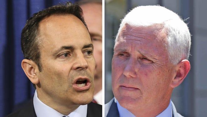 Kentucky Gov. Matt Bevin (left) Indiana Gov. Mike Pence.