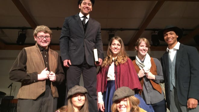 """Starring in """"Seeking Treasures: The Work of '49ers in California and Beyond"""" are, front left to right, Sierra Manwaring and Elissa Manwaring; back left to right, Marcus Violando, Josiah Moy, Amanda Hall, Becky Lanz and Matthew Otey."""