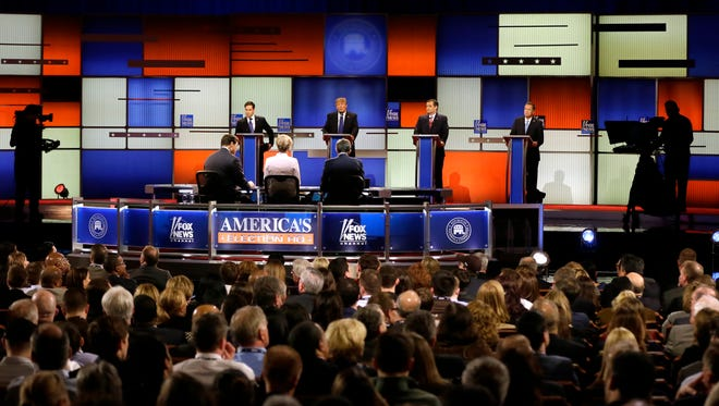 Marco Rubio, Donald Trump, Ted Cruz and John Kasich take part in the GOP debate on March 3, 2016, in Detroit.