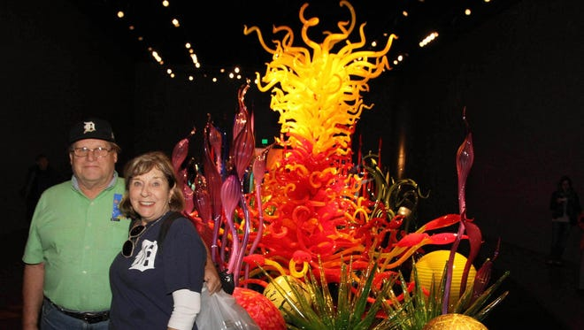 Arlene Zazula and Bill Hale of Westland, took the D to Chihuly Garden and Glass near the Seattle Space Needle in Seattle, Washington. They took the D with them on a cross-country roundabout Amtrak Train Excursion through northern and Midwestern states, almost 6,000 miles roundtrip in November 2016.