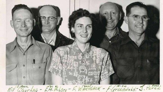 Members of the Shasta County Farm Bureau, left to right: E. Charles, E.H. Wilcox, F. Warmack, F. Greenwald, J. Perez.