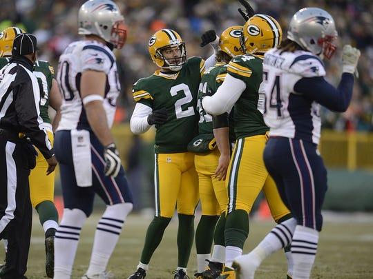 Green Bay Packers kicker Mason Crosby celebrates with