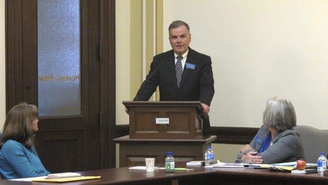 Sen. Scott Sales, R-Bozeman, addresses members of the Republican caucus after being elected Senate president Monday.