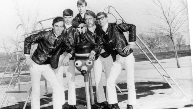"""The Bird Dogs sported stage outfits sewn by the mother of one of the members. Longtime Farmington resident Sherwood """"Woody"""" Moore is pictured second from right, while Lee Halvorsen is at top."""