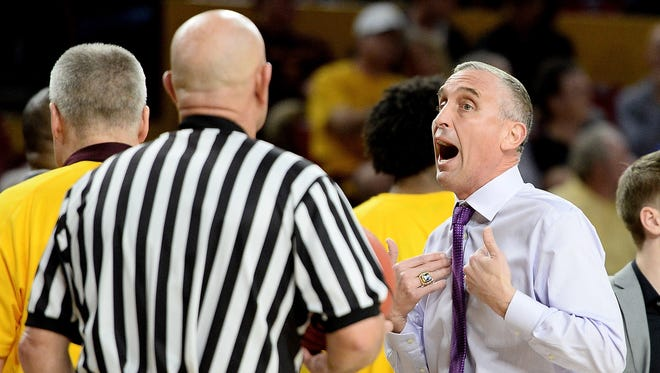 Feb 8, 2018; Tempe, AZ, USA; Arizona State Sun Devils head coach Bobby Hurley talks to a referee during a time out in the first half of the game against the USC Trojans at Wells-Fargo Arena. Mandatory Credit: Jennifer Stewart-USA TODAY Sports