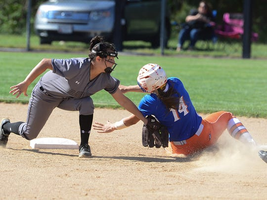 Sussex Tech's Kayla Booros put the tag on Delmar's Avery Wheatley on Tuesday, May 2, 2017.