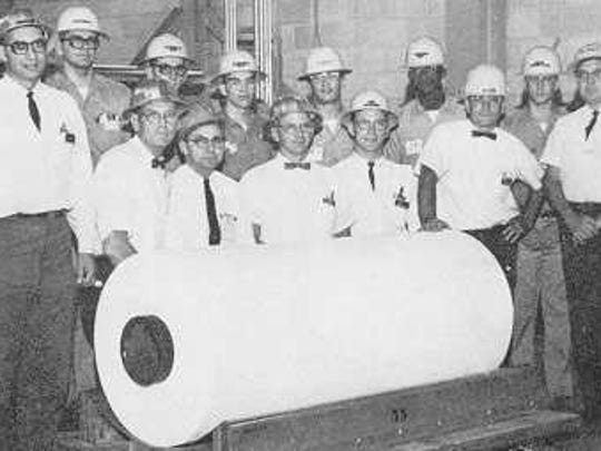 First roll of Tyvek® produced on the commercial line on April 5, 1967 at the Spruance plant, Richmond, Virginia.